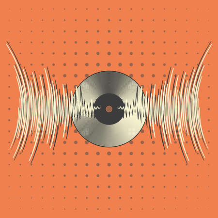 Retro vinyl record with music waves. Vintage audio pulse player poster. Modern media banner. Trendy colorful line style background