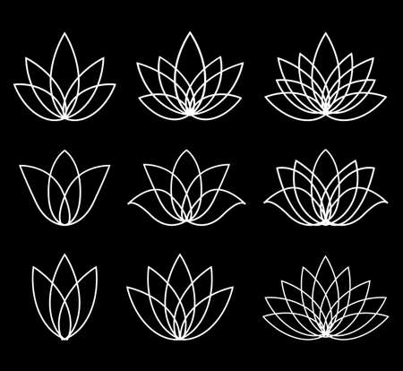 Set of white linear lotus icon on black background. Dlossom flower logos.collection. Floral isolated symbol for yoga center, spa, beauty salon. Jpeg illustration. 免版税图像