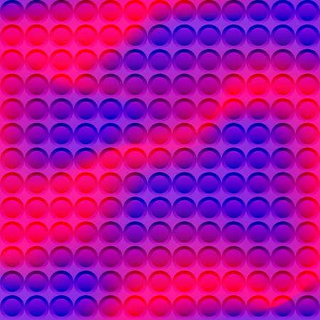 Digital neon colors waves background. Modern 3D jpeg illustration with dynamic wavy smoke and multicolor mosaic of circles 免版税图像