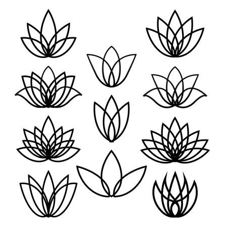 Set of black linear lotus icon. Sketch isolated flower symbols on white. Outline floral labels for spa center or beauty salon. Jpeg illustration.
