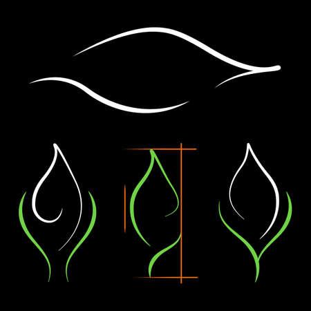 Contour green leaf logos set. Organic plant emblems. Stylized eco greens symbol. Natural care ecology icon template. Conceptual design mockup seedling growing plant. Jpeg illustration. 免版税图像