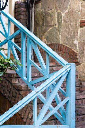 jewish home: Old wooden outdoor spiral stairs in Old Tbilisi, Georgia Stock Photo