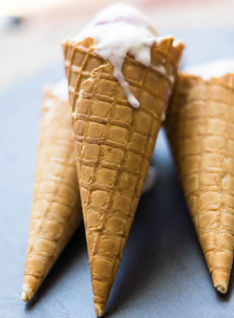 splurge: Ice cream in the cone with fresh sweet cherry berries