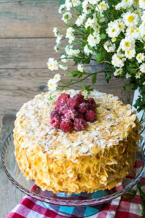torte: Delicious almond cake on table
