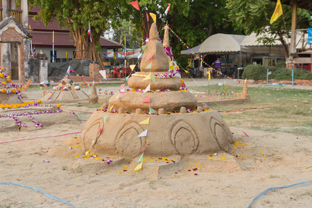 thai culture: Sand pagodas Stock Photo