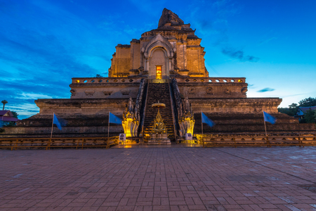 Wat Chedi Luang is a Buddhist temple in the historic centre of Chiang Mai, Thailand. Stock Photo
