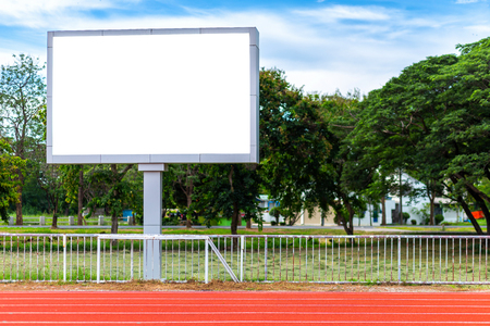 Digital blank scoreboard at football stadium with running track in sport stadium in outdoor ,Advertising Billboard LED, Empty white digital.