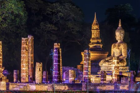 Beautiful scene light color Sukhothai Co Lamplighter Loy Kratong Festival party at The Sukhothai Historical temple park covers the ruins of Sukhothai, in what is now Northern Thailand. With full moon