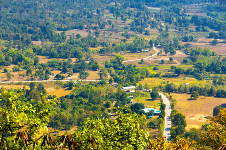 Beautiful panoramic view of Mae Khong river Mountain views of Laos with Chiang Khan town on Phu Thok Park in Loei province,Thailand