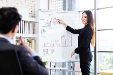businessman and businesswoman boss Two partners presenting new project ideas and the increase in received bracelets background in office,female coach presenting successful business plan