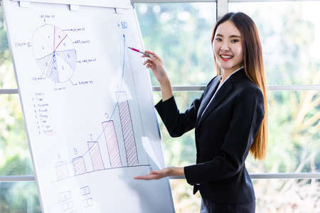 Businesswoman boss partners presenting new project ideas and the increase in received bracelets background in office,female coach presenting successful business plan