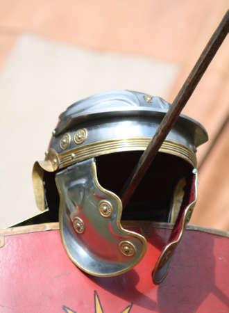 farbe: roman helmet and shield Stock Photo