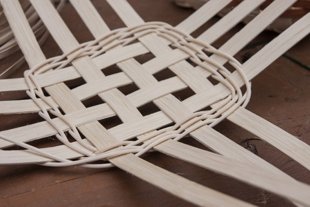 A demonstration showing how baskets are woven