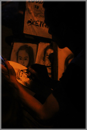 hue: Sketch drawing, walking street, Hue, VietNam