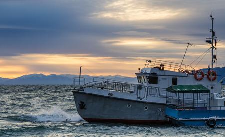 listvyanka: old ship at sunset, Listvyanka, Baikal