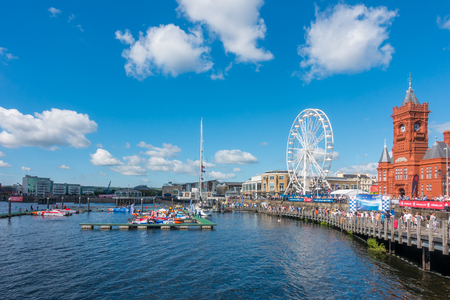 Cardiff, United Kingdom - August 29, 2016: Tourists and locals are watching eleven powerboats and more than thirty jet ski riders competing in the fourth round of the P1 national championships at the Cardiff Harbour Festival & the P1 Welsh Grand Prix of t