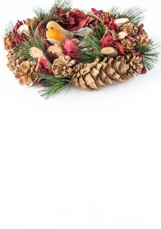 Christmas Wreath with Robin Bird on white with lots of copy space.