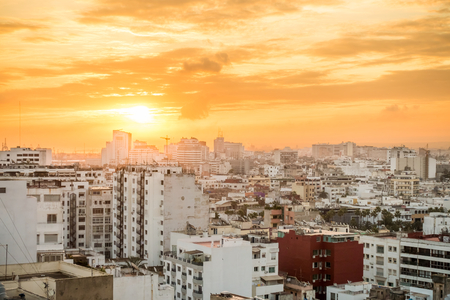 Golden sunrise over the cityscape of Casablanca, Morocco, Africa. Banco de Imagens