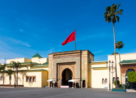 Entrance gate of the Royal Palace in Rabat, Rabat-Salé-Zemmour-Zaer, Morocco, Maghreb, Africa