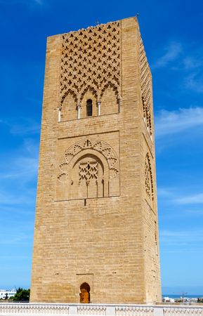 Closeup of the Hassan Tower the minaret of an incomplete mosque in Rabat, Morocco. Stock Photo