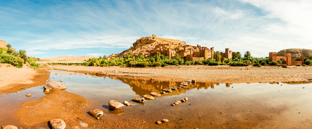 Panorama of the village Ksar Ait Benhaddou, a famous film location in Souss-Massa-Draa, Morocco, Africa.