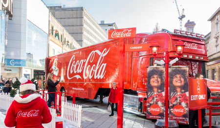 Cardiff, United Kingdom -  November 19, 2017: The Coca Cola Christmas Truck has arrived in Cardiff in November 2017. Editorial