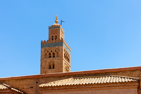 Closeup of the minaret of the Koutoubia Mosque, Marrakech, Morocco, North Africa.