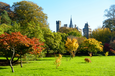 Bute Park with sunlit trees in vibrant autumn colours and Cardiff Castle in the background. Stockfoto