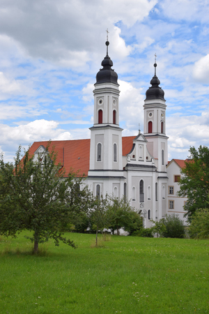 IRSEE, BY, GERMANY - JUNE 26, 2018: monastery irsee a meeting place for christians in bavaria, Imperial Abbey of irsee in front of cloudy sky in june Editorial