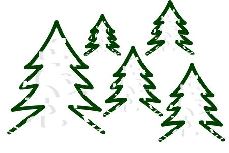 Christmas trees covered with snow minimalist christmas background