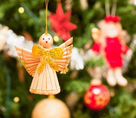 Christmas angel on a Christmas background Stock Photo