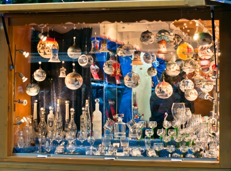 Show-window with New Year s spheres Stock Photo