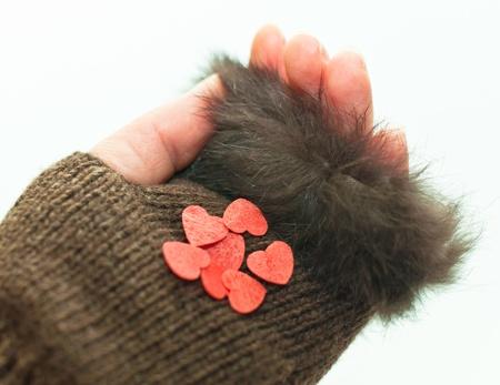 Heart on a brown mitten