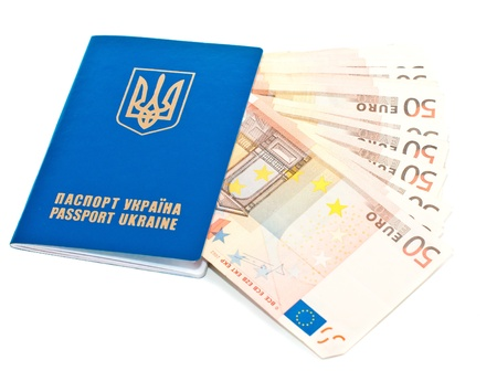 International Ukrainian passport with Euro banknotes