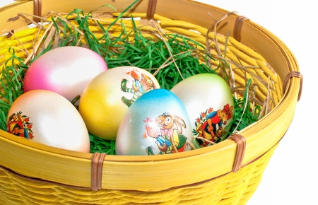 Easter eggs in a nest on a white background  Stock fotó