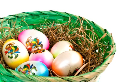 Easter eggs in a nest on a white background  Stock Photo
