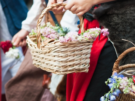 Beautiful  spring flowers in a basket Stock Photo