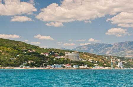 View from the sea, on the Southern coast of the Crimea Ukraine-Alushta