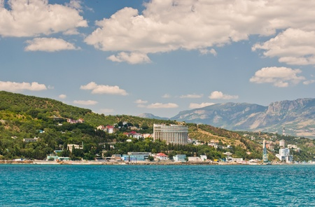 View from the sea, on the Southern coast of the Crimea Ukraine-Alushta