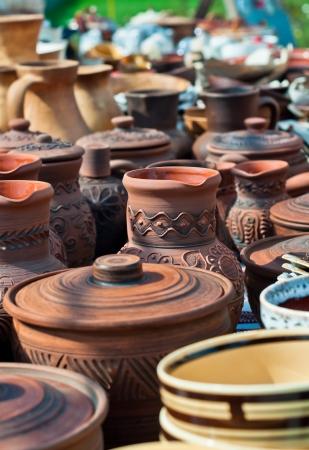 Ukrainian traditional pots  Stock Photo