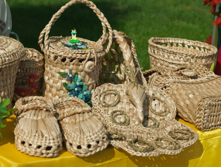 Products from straw, sale in the market of Ukraine Stock Photo - 20727879