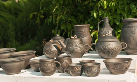 Traditional Ukrainian pots Stock Photo