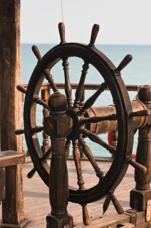old wooden ship rudder Standard-Bild