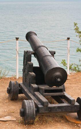 An ancient cannon looks towards the Black Sea  Ukraine- Crimea