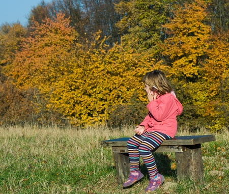 Little girl sitting on the bench in the woods,speaks by phone Stock Photo - 20628043