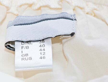 close-up of clothing label with size