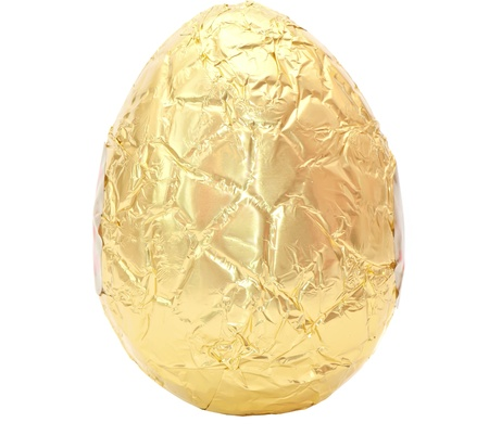 Photo of an easter egg wrapped in gold foil isolated on a plain white background with clipping path   Stock Photo