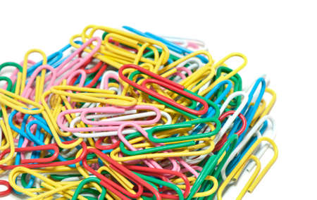 colorful paper clip against a white background