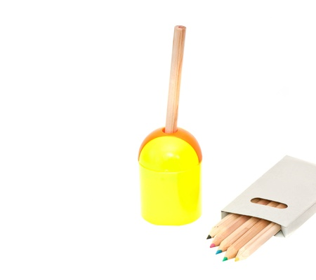 Pencil and Sharpener isolated on white