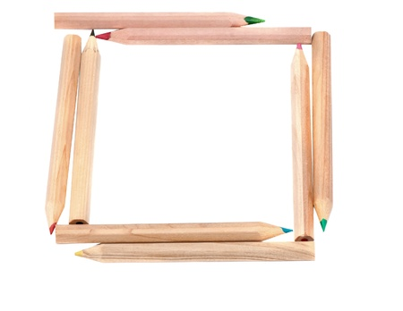 Frame made of  pencils, shallow depth of field with focus on the Your sample text